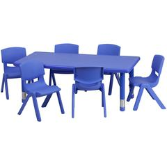 24''W x 48''L Rectangular Blue Plastic Height Adjustable Activity Table Set with 6 Chairs