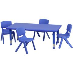 24''W x 48''L Rectangular Blue Plastic Height Adjustable Activity Table Set with 4 Chairs