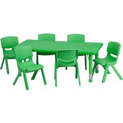 24''Wx48''L Rectangular Green Plastic Height Adjustable Table Set with 6 Chairs