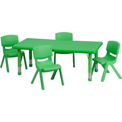 24''Wx48''L Rectangular Green Plastic Height Adjustable Table Set with 4 Chairs