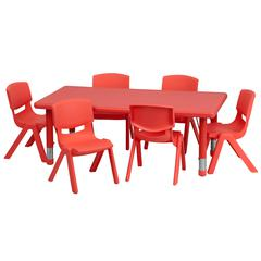 24''Wx48''L Rectangular Red Plastic Height Adjustable Table Set with 6 Chairs