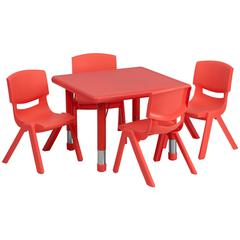 24'' Square Red Plastic Height Adjustable Activity Table Set with 4 Chairs