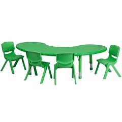 35''W x 65''L Half-Moon Green Plastic Height Adjustable Activity Table Set with 4 Chairs