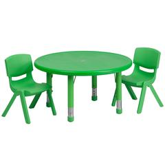 33'' Round Green Plastic Height Adjustable Activity Table Set with 2 Chairs