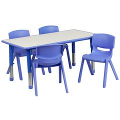 """23.625""""Wx47.25""""L Rectangular Blue Plastic Height Adjustable Table Set-4 Chairs"""