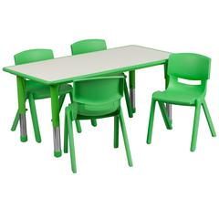 """23.625""""Wx47.25""""L Rectangular Green Plastic Height Adjustable Table Set-4 Chairs"""