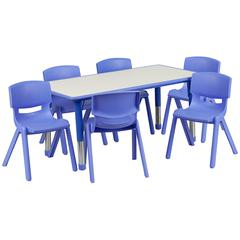 """23.625""""Wx47.25""""L Rectangular Blue Plastic Height Adjustable Table Set-6 Chairs"""