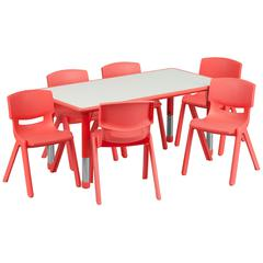 23.625''W x 47.25''L Rectangular Red Plastic Height Adjustable Activity Table Set with 6 Chairs