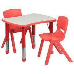 """21.875""""Wx26.625""""L Rectangular Red Plastic Height Adjustable Table Set-2 Chairs"""