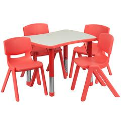 """21.875""""Wx26.625""""L Rectangular Red Plastic Height Adjustable Table Set-4 Chairs"""