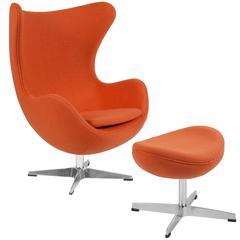 Orange Wool Fabric Egg Chair with Tilt-Lock Mechanism and Ottoman