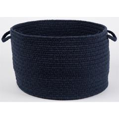 "Solid Navy Wool 18"" x 12"" Basket"