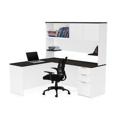 Pro-Concept Plus L-Desk with Hutch in White & Deep Grey