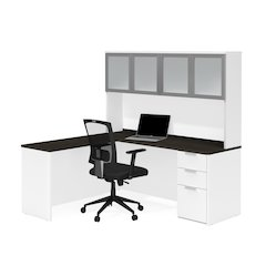 Pro-Concept Plus L-Desk with Frosted Glass Door Hutch in White & Deep Grey