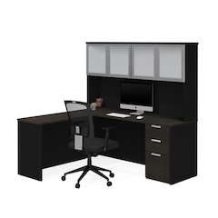 Pro-Concept Plus L-Desk with Frosted Glass Door Hutch in Deep Grey & Black