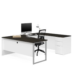Pro-Concept Plus U-Desk in White & Deep Grey