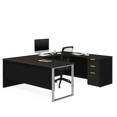 Pro-Concept Plus U-Desk in Deep Grey & Black