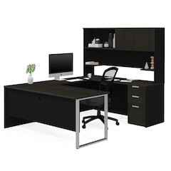 Pro-Concept Plus U-Desk with Hutch in Deep Grey & Black