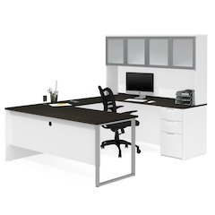 Pro-Concept Plus U-Desk with Frosted Glass Door Hutch in White & Deep Grey