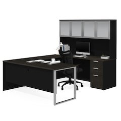 Pro-Concept Plus U-Desk with Frosted Glass Door Hutch in Deep Grey & Black