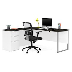 Pro-Concept Plus L-Desk with Metal Leg in White & Deep Grey