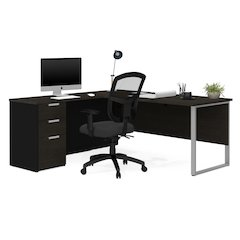 Pro-Concept Plus L-Desk with Metal Leg in Deep Grey & Black