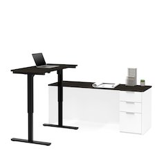 Pro-Concept Plus Height Adjustable L-Desk in White & Deep Grey