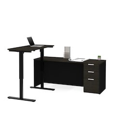 Pro-Concept Plus Height Adjustable L-Desk in Deep Grey & Black