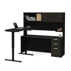 Pro-Concept Plus Height Adjustable L-Desk with Hutch in Deep Grey & Black