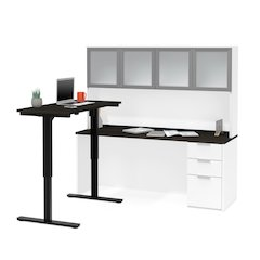 Pro-Concept Plus Height Adjustable L-Desk with Frosted Glass Door Hutch in White & Deep Grey