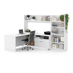 Pro-Linea L-Desk with Bookcase in White