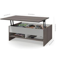 Bestar Small Space 2-Piece Lift-Top Storage Coffee Table and TV Stand Set in Bark Gray and White