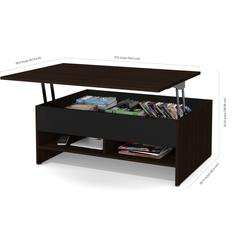 Bestar Small Space 2-Piece Lift-Top Storage Coffee Table and TV Stand Set in Dark Chocolate and Black