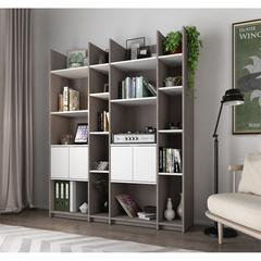 Bestar Small Space Storage Wall Unit in Bark Gray and White