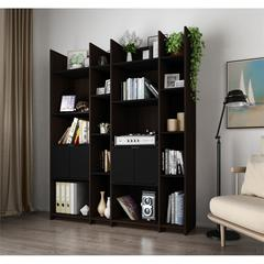 Bestar Small Space Storage Wall Unit in Dark Chocolate and Black