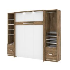 """Cielo Premium 98"""" Full Wall Bed kit in Rustic Brown and White"""