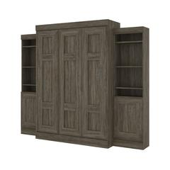 """Edge Full Wall Bed with two 21"""" Storage Units in Walnut Grey"""