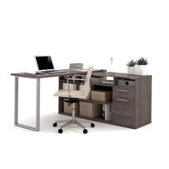 Solay L-Shaped Desk in Bark Gray