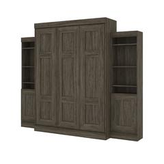 """Edge Queen Wall Bed with two 21"""" Storage Units in Walnut Grey"""