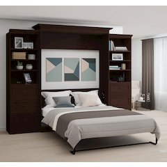 Novello Veneer Queen Wall bed with two 3-Drawer Storage Units in Espresso