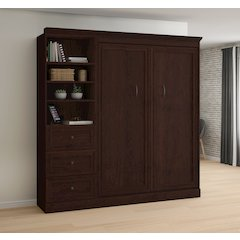 Novello Veneer Full Wall bed with 3-Drawer Storage Unit in Espresso