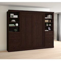 Novello Veneer Full Wall bed with two 3-Drawer Storage Units in Espresso