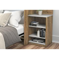 "Cielo 19.5"" Base Storage Unit in Rustic Brown and White"