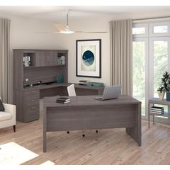 Logan U-Shaped Desk in Bark Gray