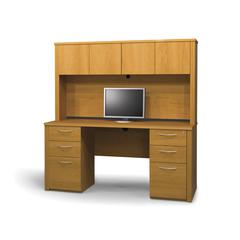 Embassy credenza and hutch kit including assembled pedestals in Cappuccino Cherry