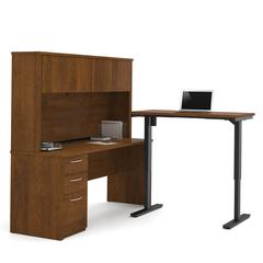 Embassy L-Desk with Hutch including Electric Height Adjustable Table in Tuscany Brown