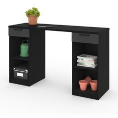 Bestar Lincoln 2-Drawer Workbench in Black & Graphite