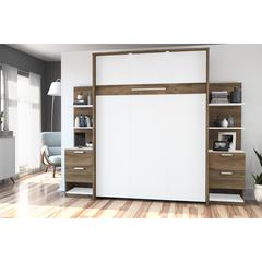 """Cielo by Bestar Elite 98"""" Full Wall Bed kit in Rustic Brown and White"""