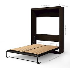 Edge by Bestar Queen Wall Bed with 2-Drawer Storage Unit in Dark Chocolate