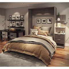 """Elite 85"""" Queen Wall Bed kit in Bark Gray and White"""